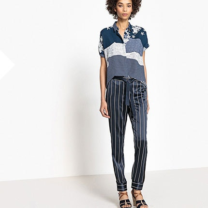 Tie Waist Striped Trousers