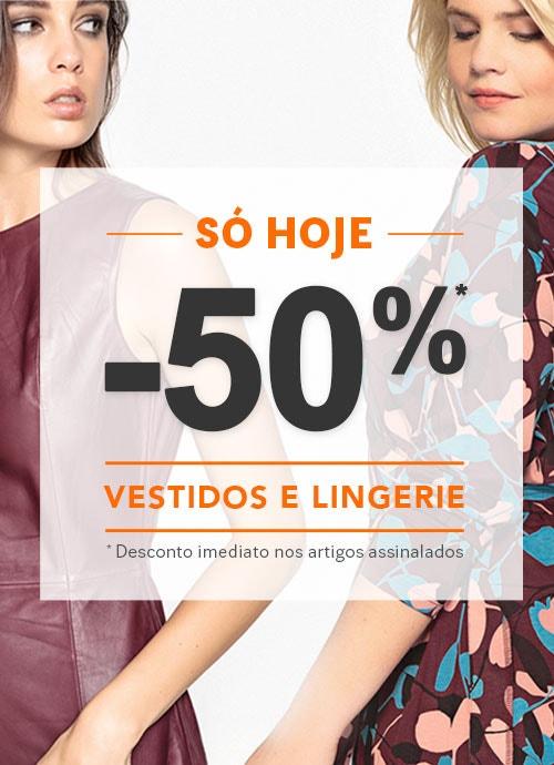 -50% Desconto Vestidos e Lingerie