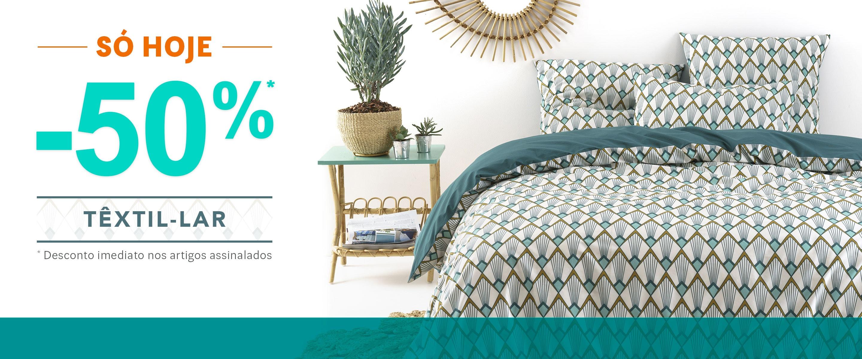 -50% Desconto Têxtil-Lar