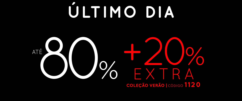 até 80% + 20% extra na coleção verão