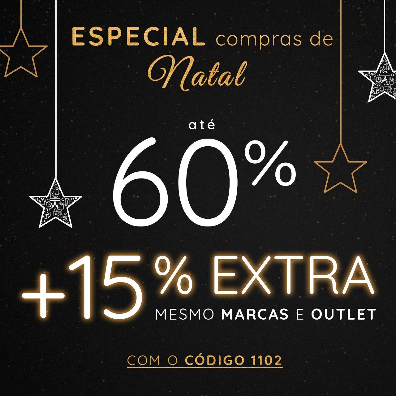 até 60% +15% EXTRA