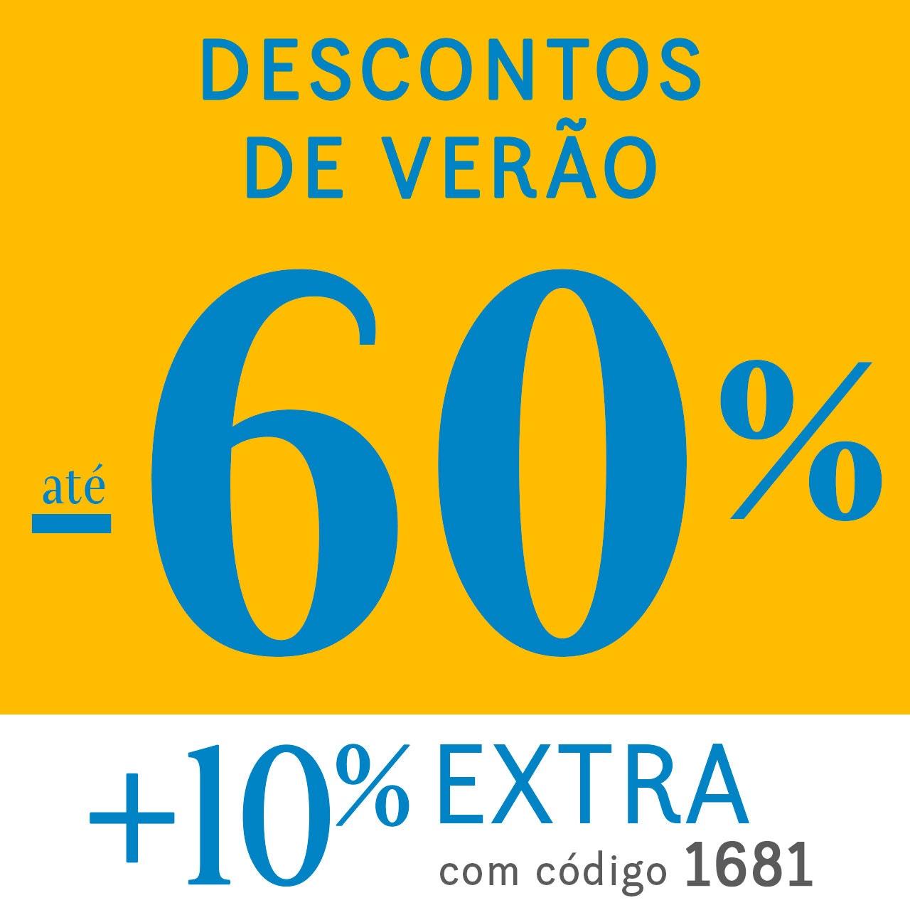 Descontos de verão até 60% + 10% extra com o código 1681
