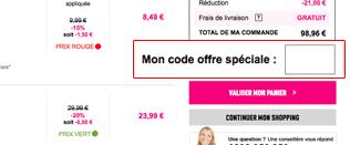 Utilisation du code promo La Redoute