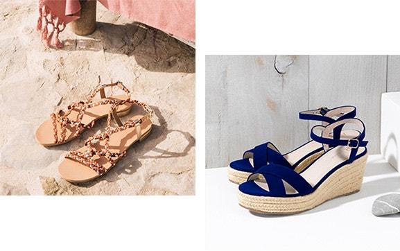 0d951026b Rasas, com salto ou de cunha, as sandálias são as aliadas da moda verão. Da  pele dourada ao tecido de algodão multicolor, encontre o par perfeito!