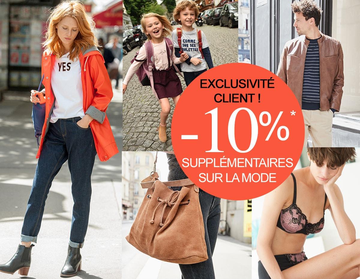 -10% suppl&ecute; sur la mode*