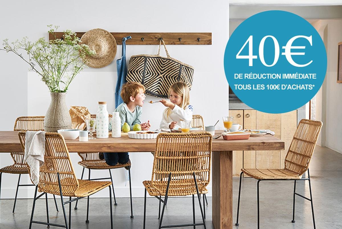 40€ de réduction immédiate tous les 100€ d'achats*