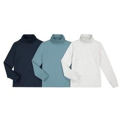 Lote de 3 camisetas de cuello alto de de algodón orgánico 3-14 años