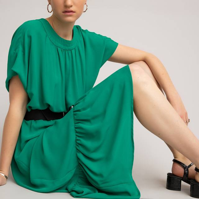 Recycled Midaxi Dress with Short Ruffled Sleeves LA REDOUTE COLLECTIONS image 0