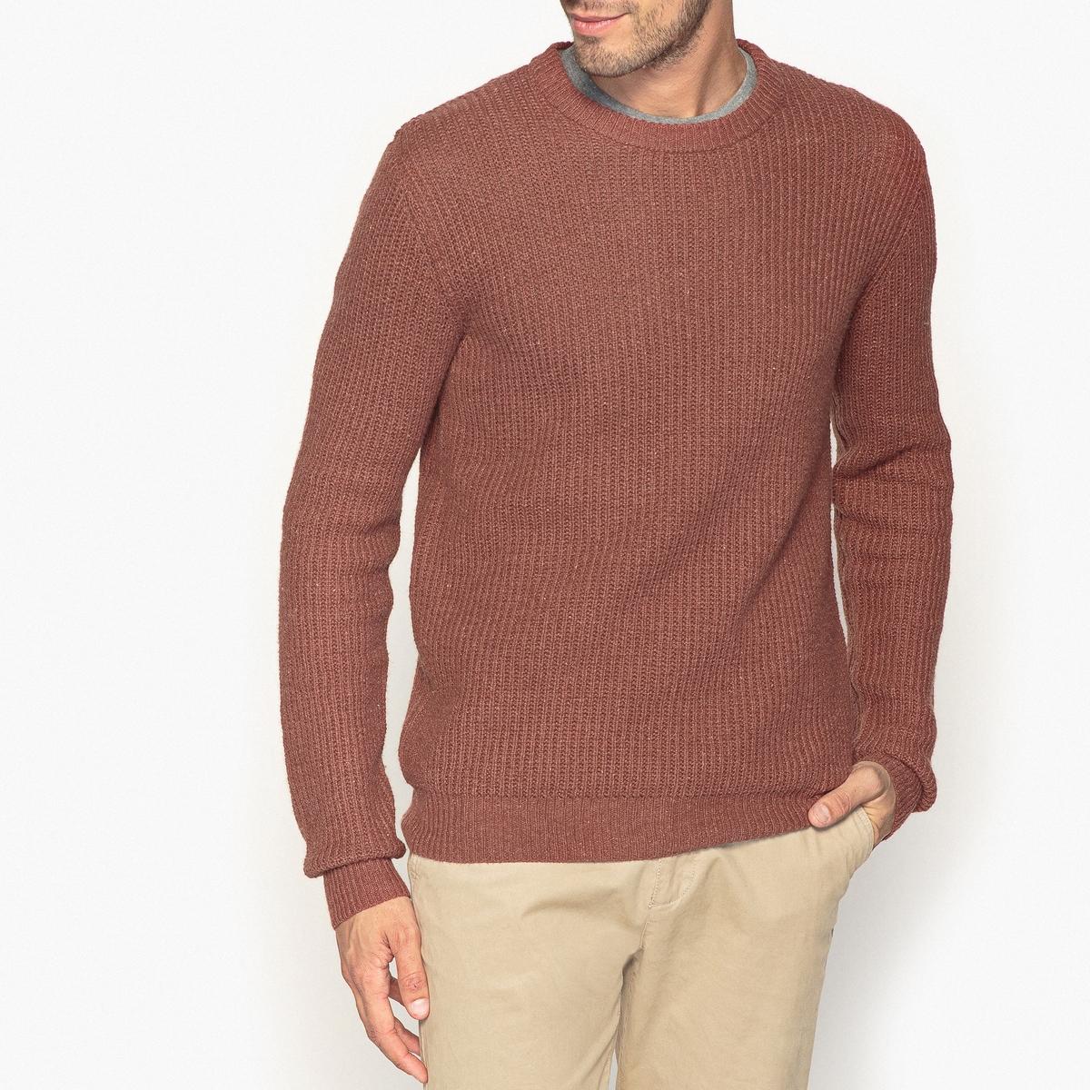 Пуловер с круглым вырезом из оригинального трикотажа пуловер с круглым вырезом из хлопка и льна