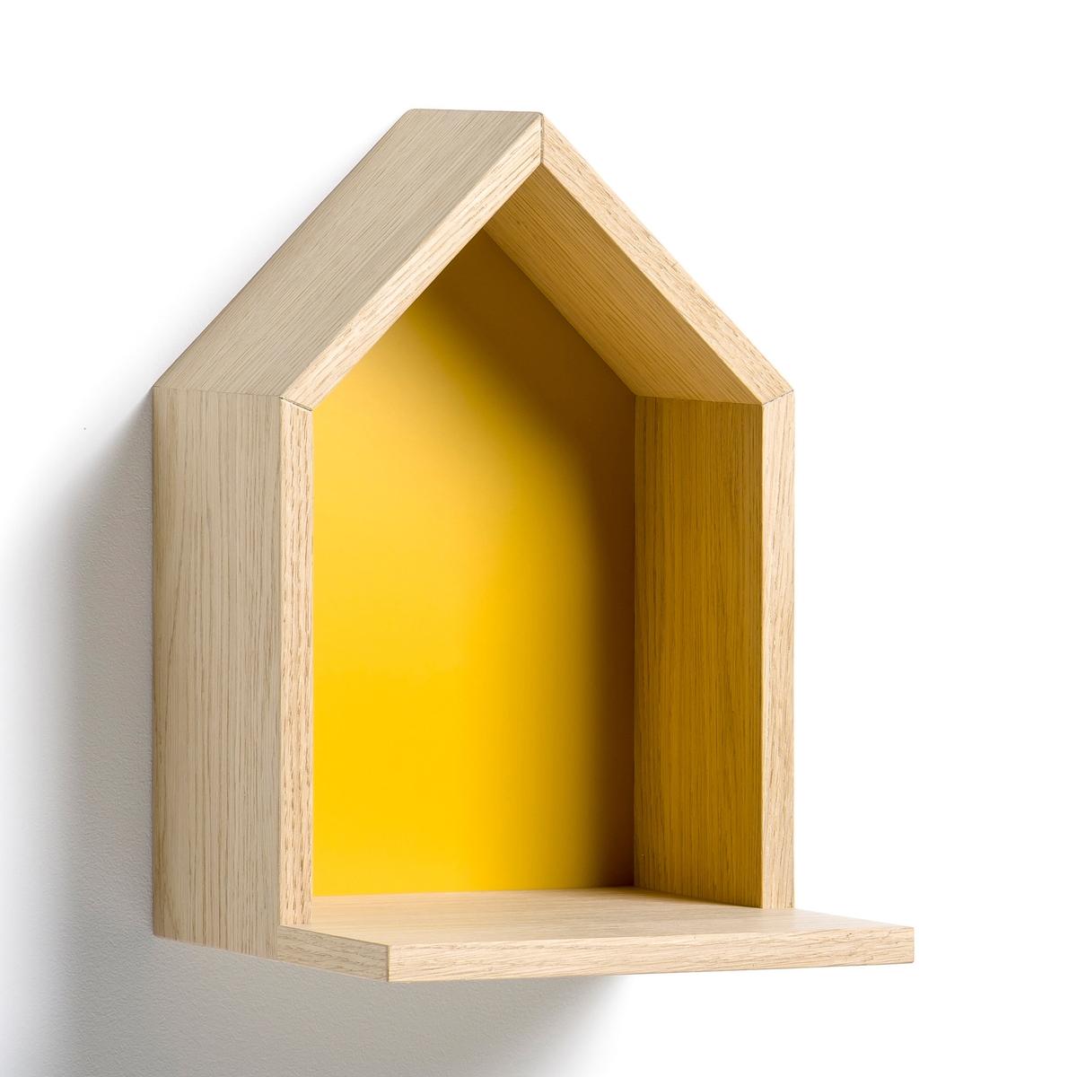Полка Bosaka, маленькая модель, В.30 смПолка в форме домика, навесная . Характеристики :- Из МДФ, покрытого дубовым шпоном, боковые стороны из ДСП, покрытой дубовым шпоном, дно из окрашенного МДФ. - 2 пластины для крепления на стену (саморезы и дюбели продаются отдельно). Размеры  :-  Ш.20 x В.30 см x Г.22 см.<br><br>Цвет: желтый