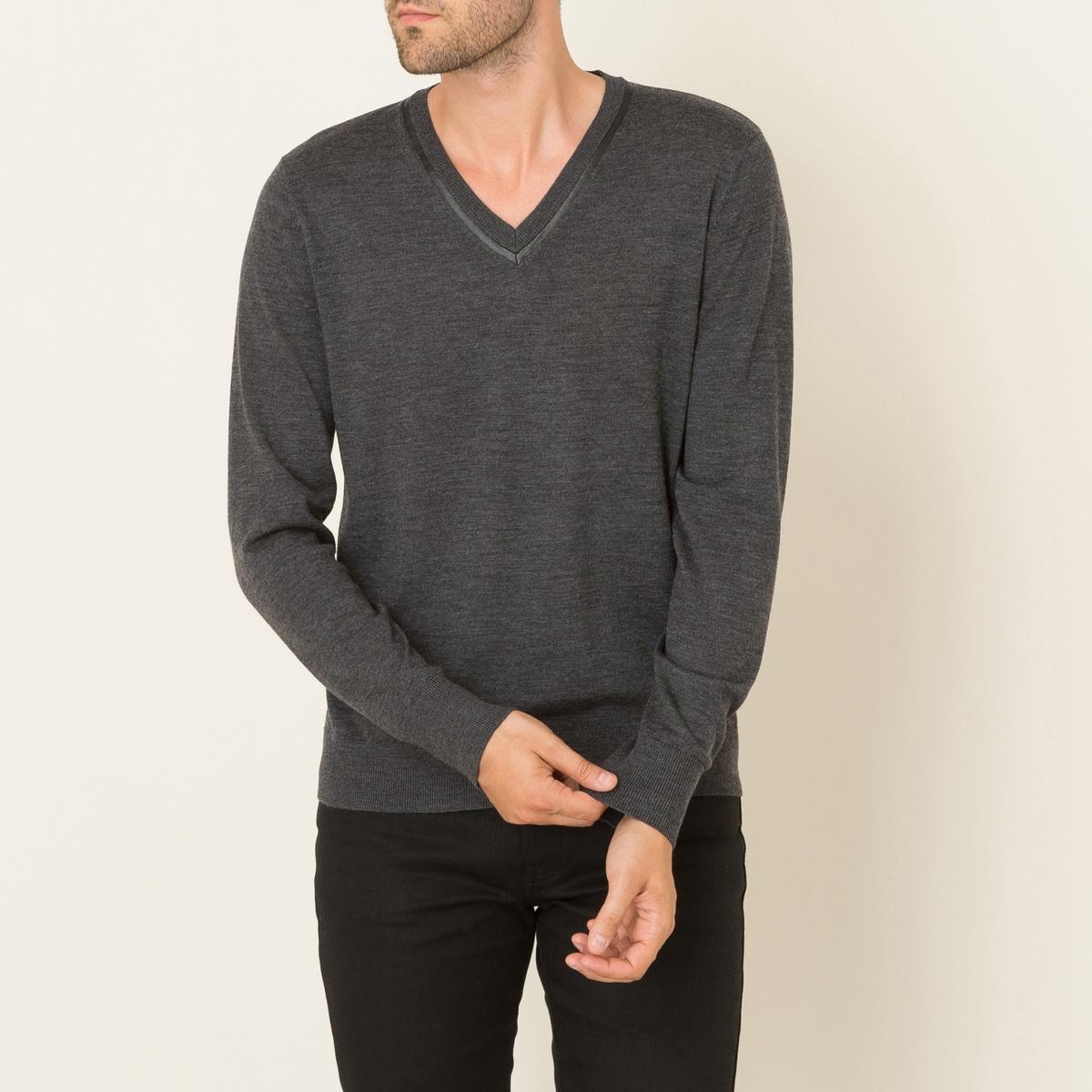 Пуловер из шерсти и кожи от La Redoute