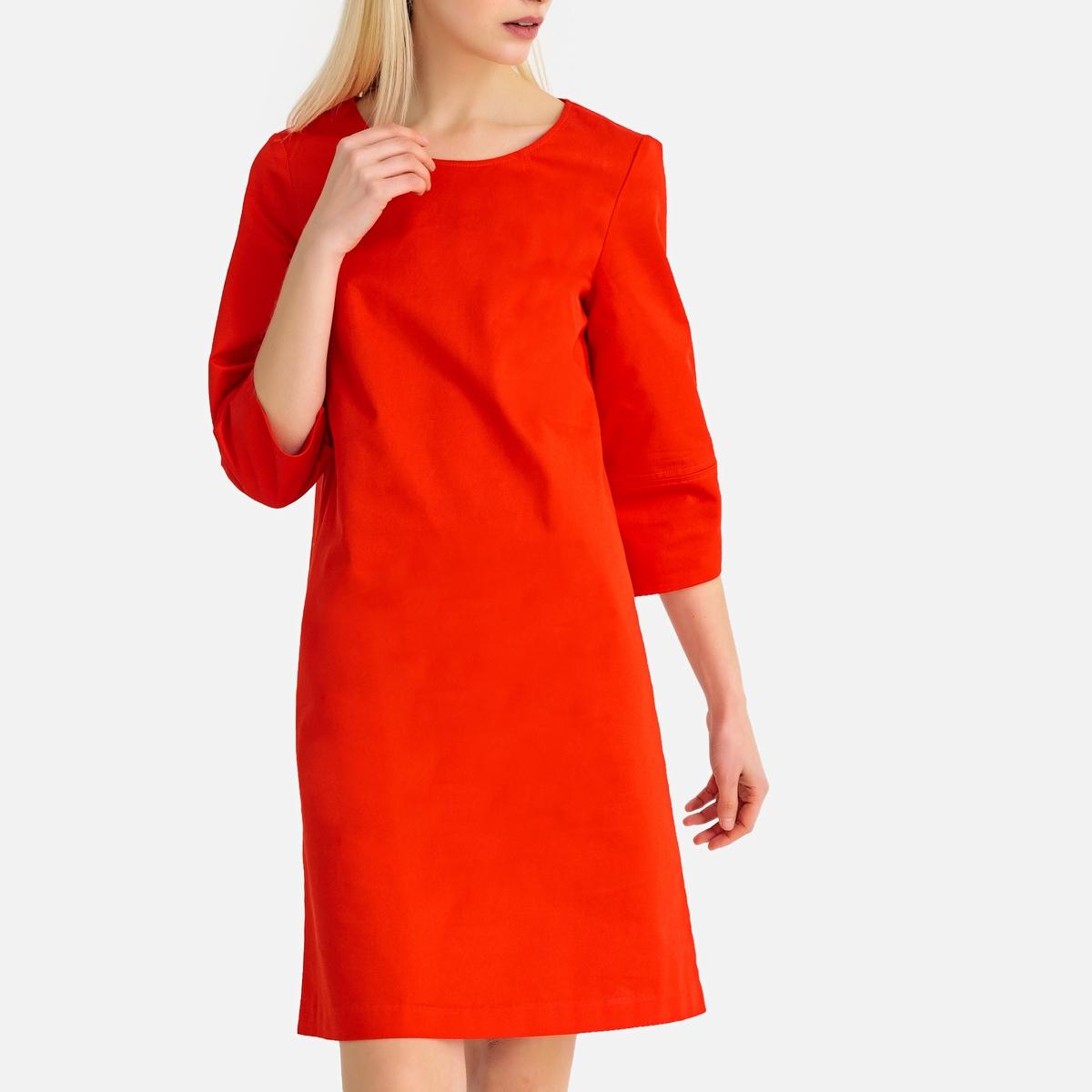 цена Платье-футляр La Redoute С рукавами длина миди 38 (FR) - 44 (RUS) оранжевый онлайн в 2017 году