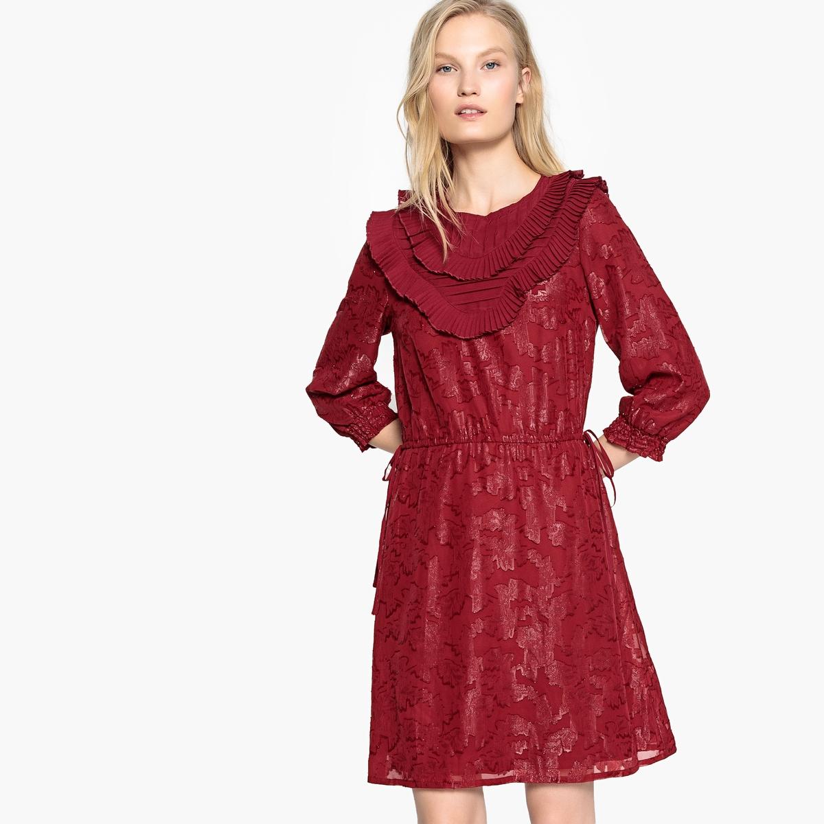 Платье LaRedoute Из рельефной ткани рукавами 34 и воланами 40 красный