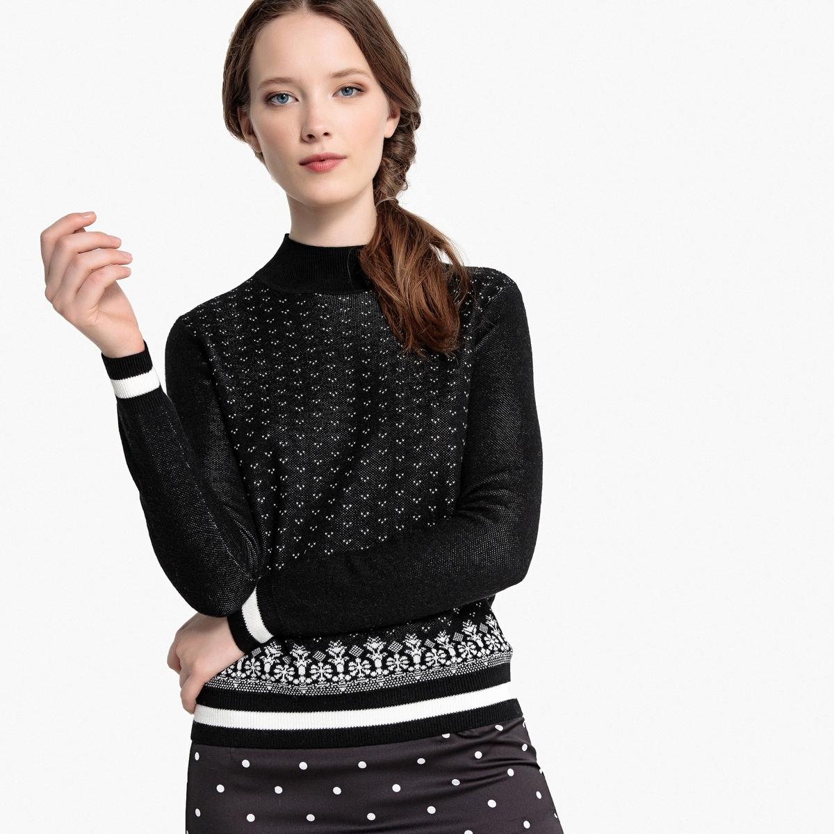 Пуловер с воротником стойкой, двухцветный La Redoute Collections