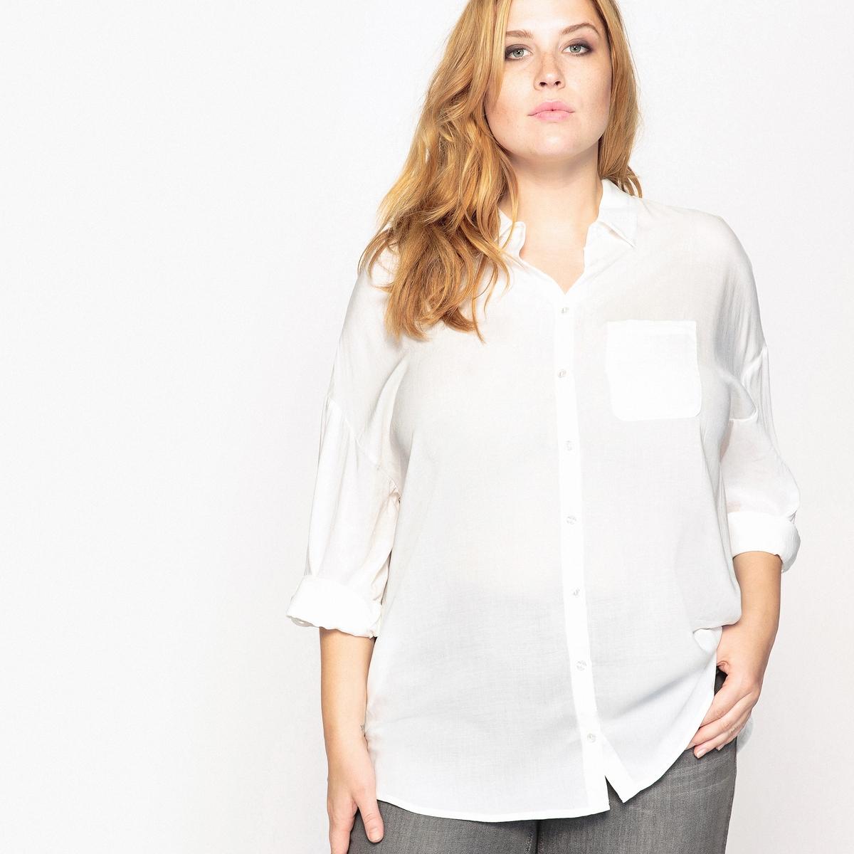 Рубашка струящаяся с закатывающимися рукавами