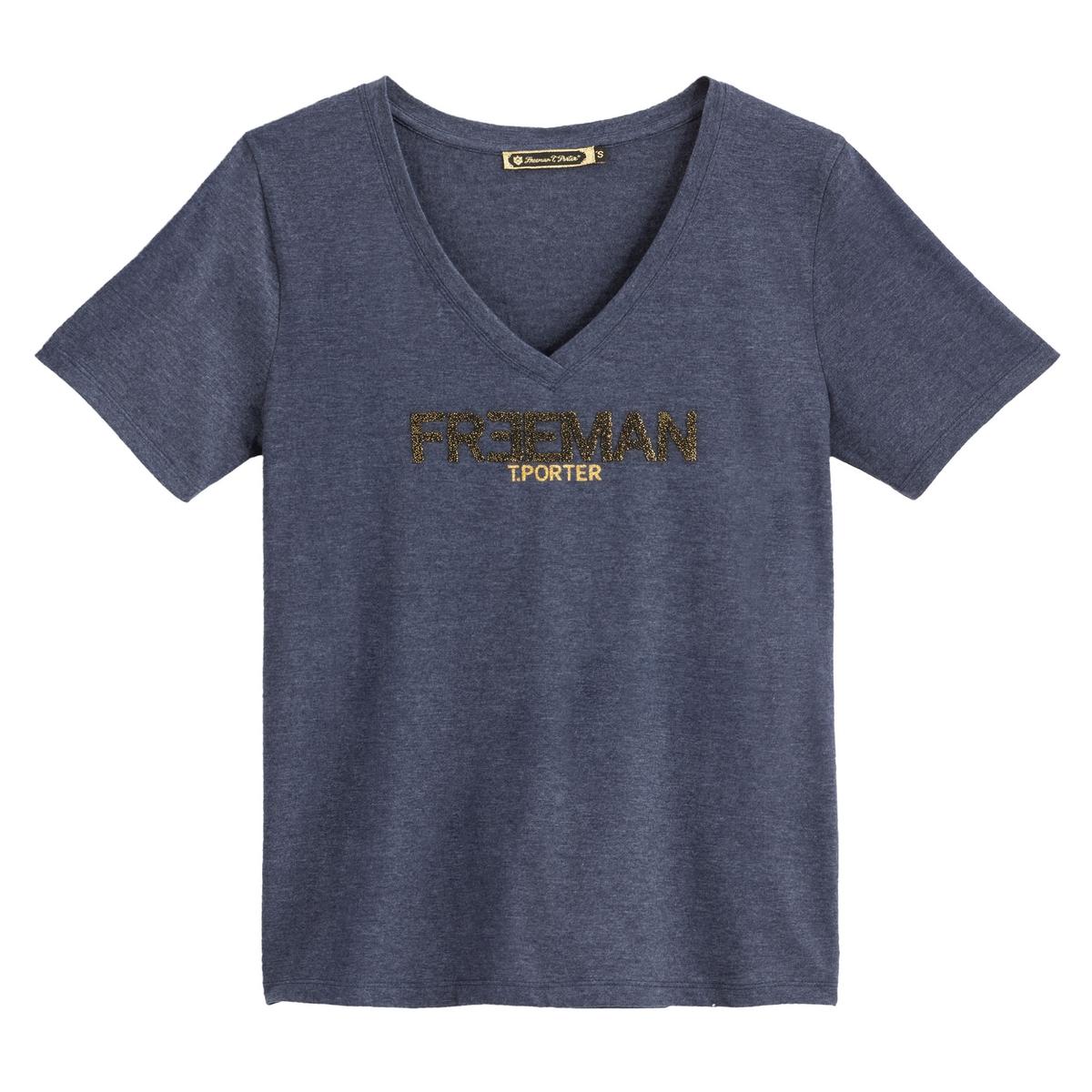 Футболка La Redoute С короткими рукавами V-образным вырезом и логотипом на груди L синий футболка классическая printio смурфы smurfs