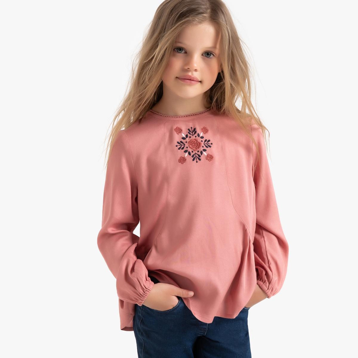 Блузка La Redoute С длинными рукавами с вышивкой 3 года - 94 см розовый комбинезон с длинными рукавами 0 мес 3 года