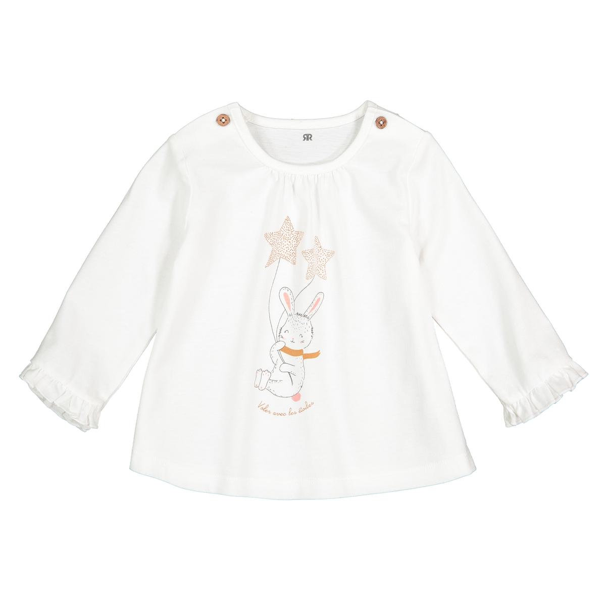 Футболка La Redoute С длинными рукавами и принтом заяц мес- года 0 мес. - 50 см бежевый футболка la redoute с длинными рукавами с вышивкой мес года 0 мес 50 см бежевый
