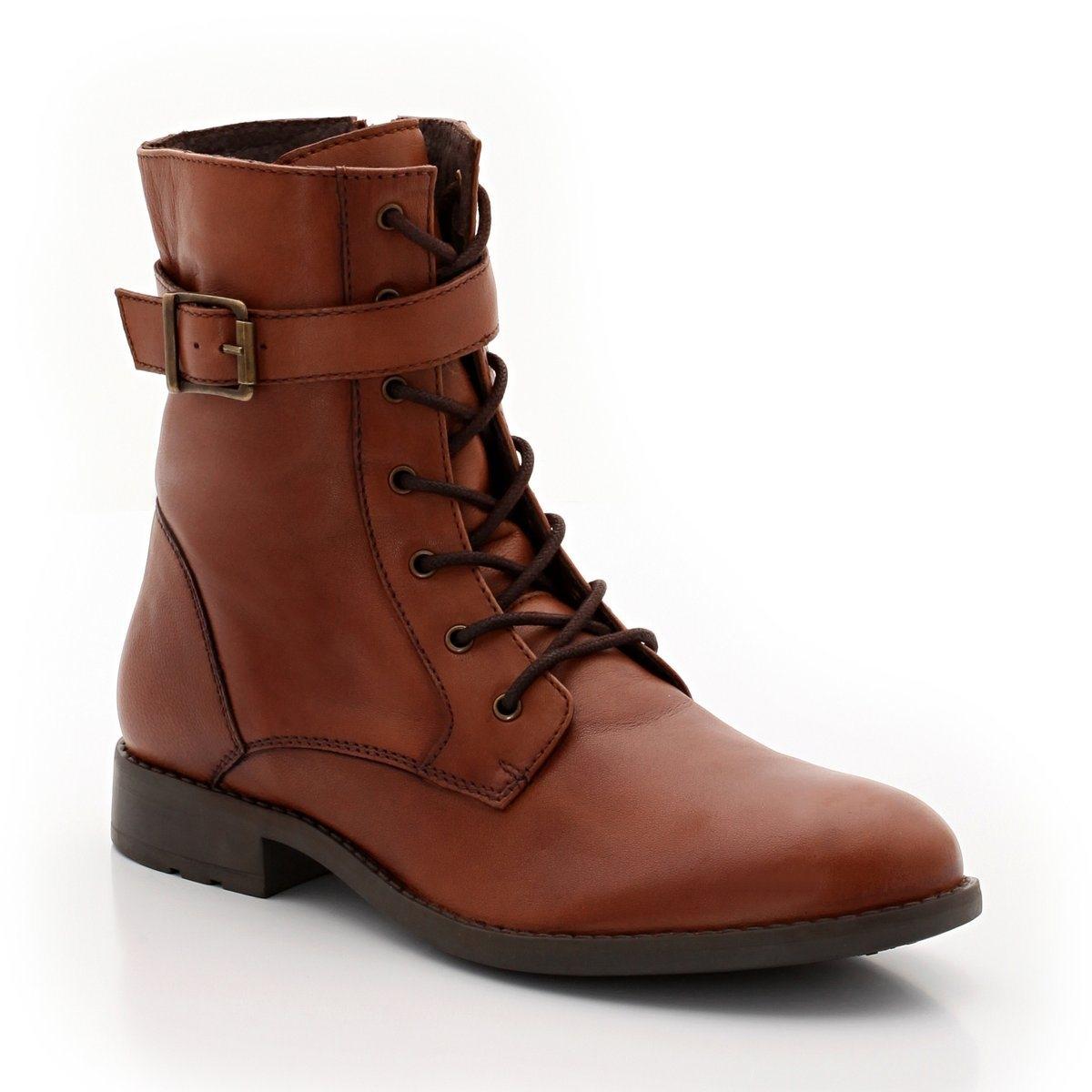 Ботинки кожаные со шнуровкой
