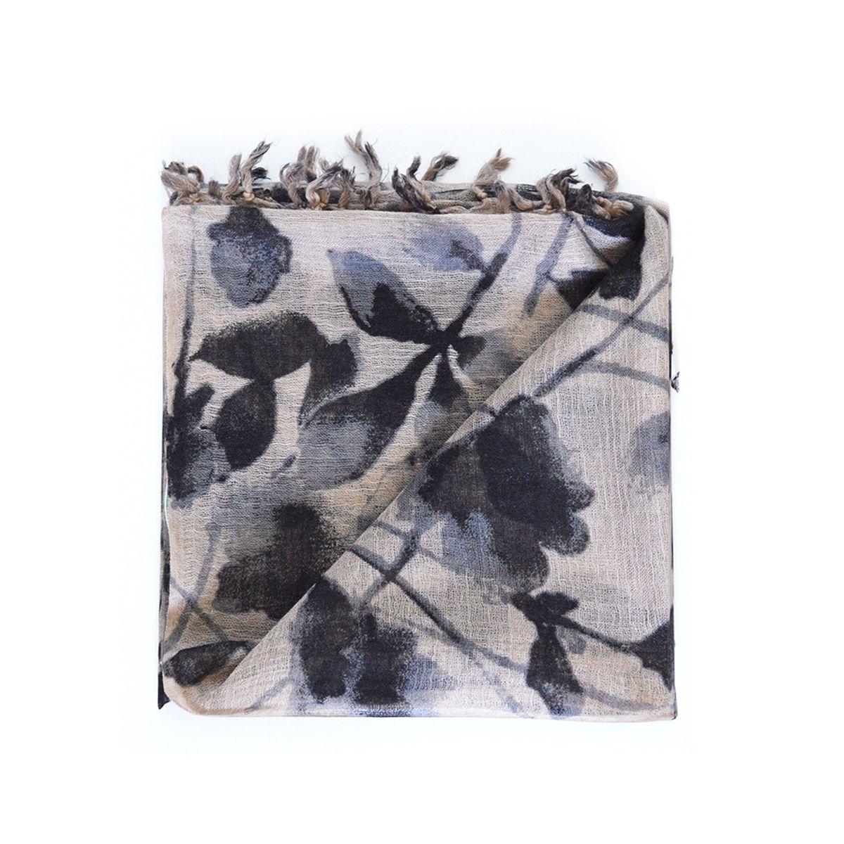 Foulard  en laine à imprimé végétal