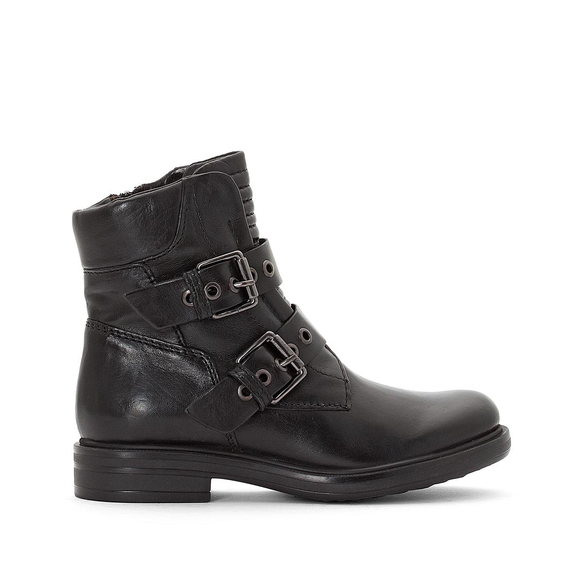 Ботинки кожаные с перекрестными ремешками
