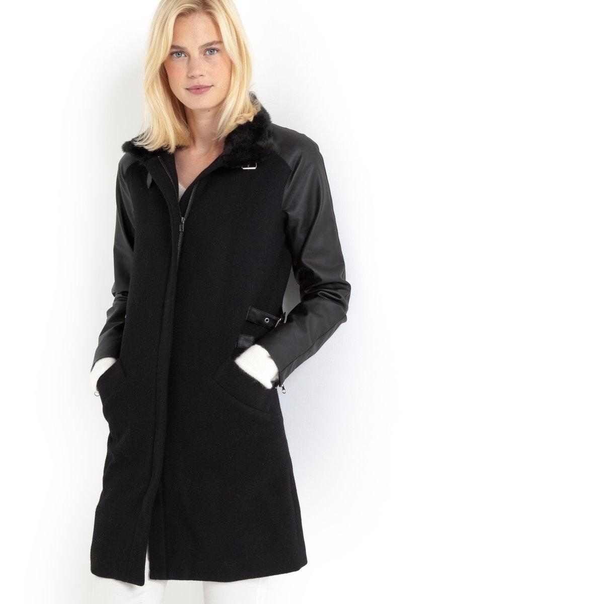 Пальто из двух материалов (50% шерсти)