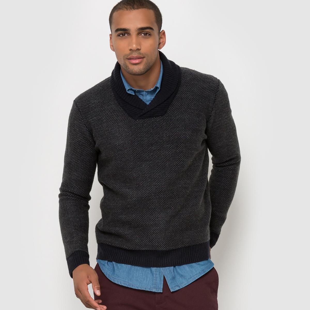 Пуловер с шалевым воротникомСостав и описаниеМатериал : 100% акрилаМарка : R EditionУходСм. рекомендации по уходу, указанные на этикетке изделия<br><br>Цвет: темно-синий меланж