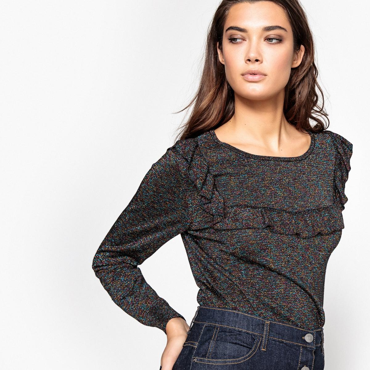 Пуловер жаккардовый с металлизированными нитями