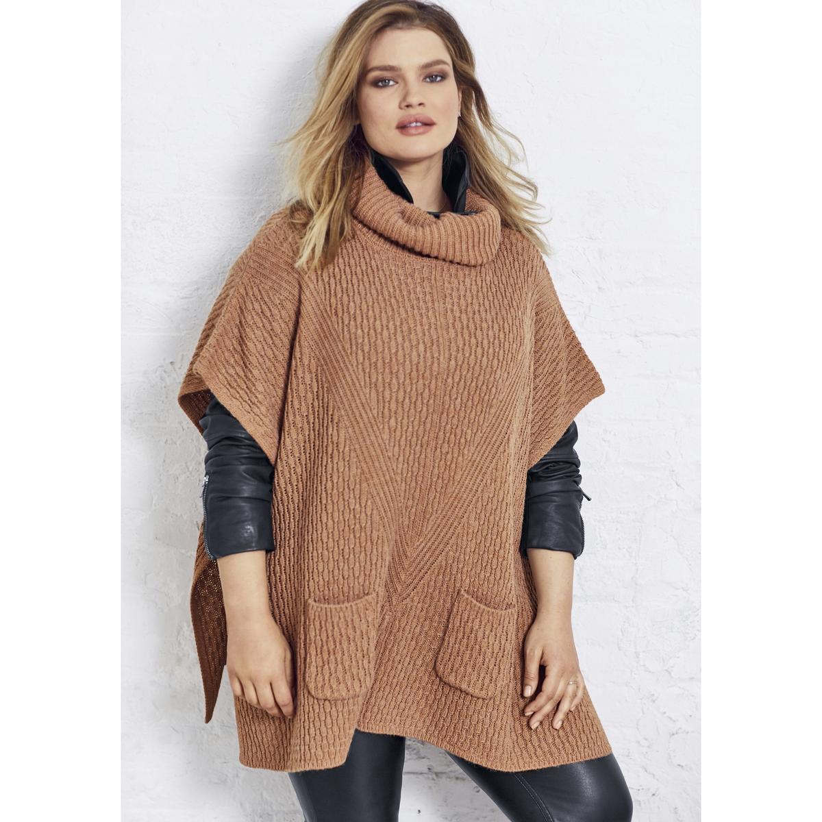 Пуловер-пончо квадратного покроя