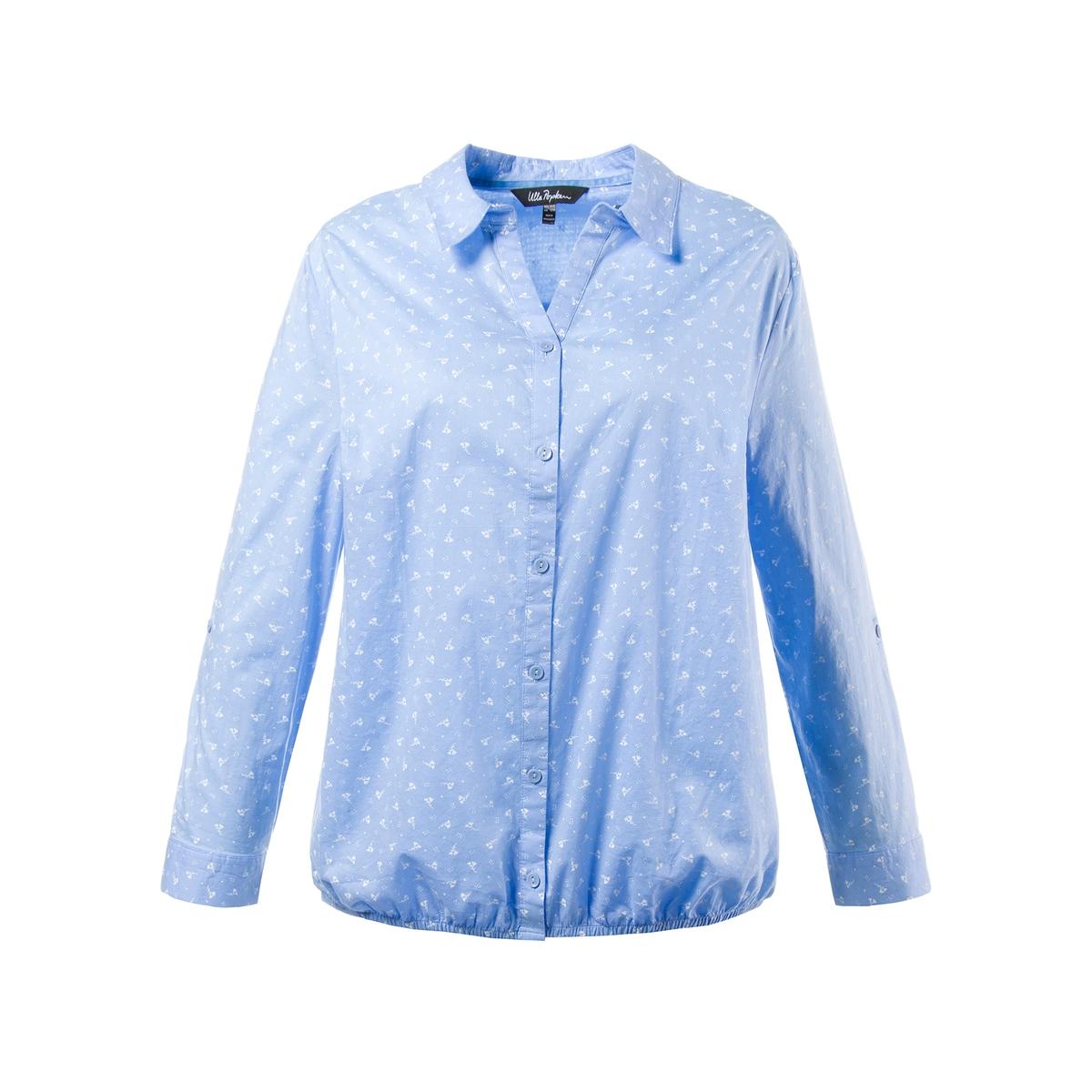 БлузкаБлузка рубашечного покроя с красивым микрорисунком ULLA POPKEN. Открытый вырез, рубашечный воротник, эластичный низ. Длинные рукава с застежкой для длины 3/4. 100% хлопок. Длина в зависимости от размера. 68-78 см<br><br>Цвет: синий