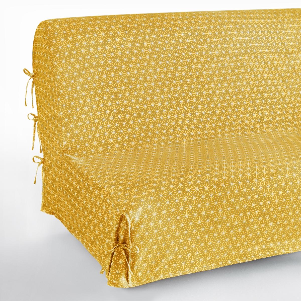 цена Чехол La Redoute Для раскладного дивана Lozange единый размер желтый онлайн в 2017 году