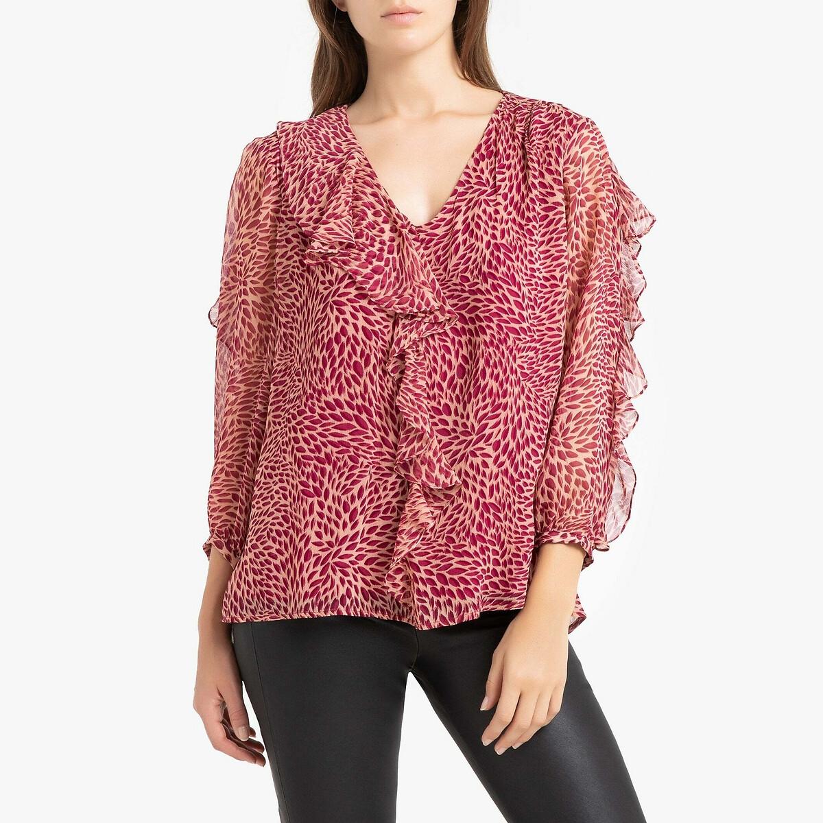 Фото - Блузка LaRedoute С рисунком V-образным вырезом и длинными рукавами GENNY 0(XS) розовый блузка с рисунком и длинными рукавами для периода беременности