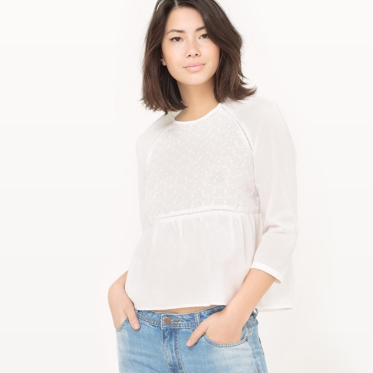 Blusa em algodão, mangas 3/4, bordado inglês