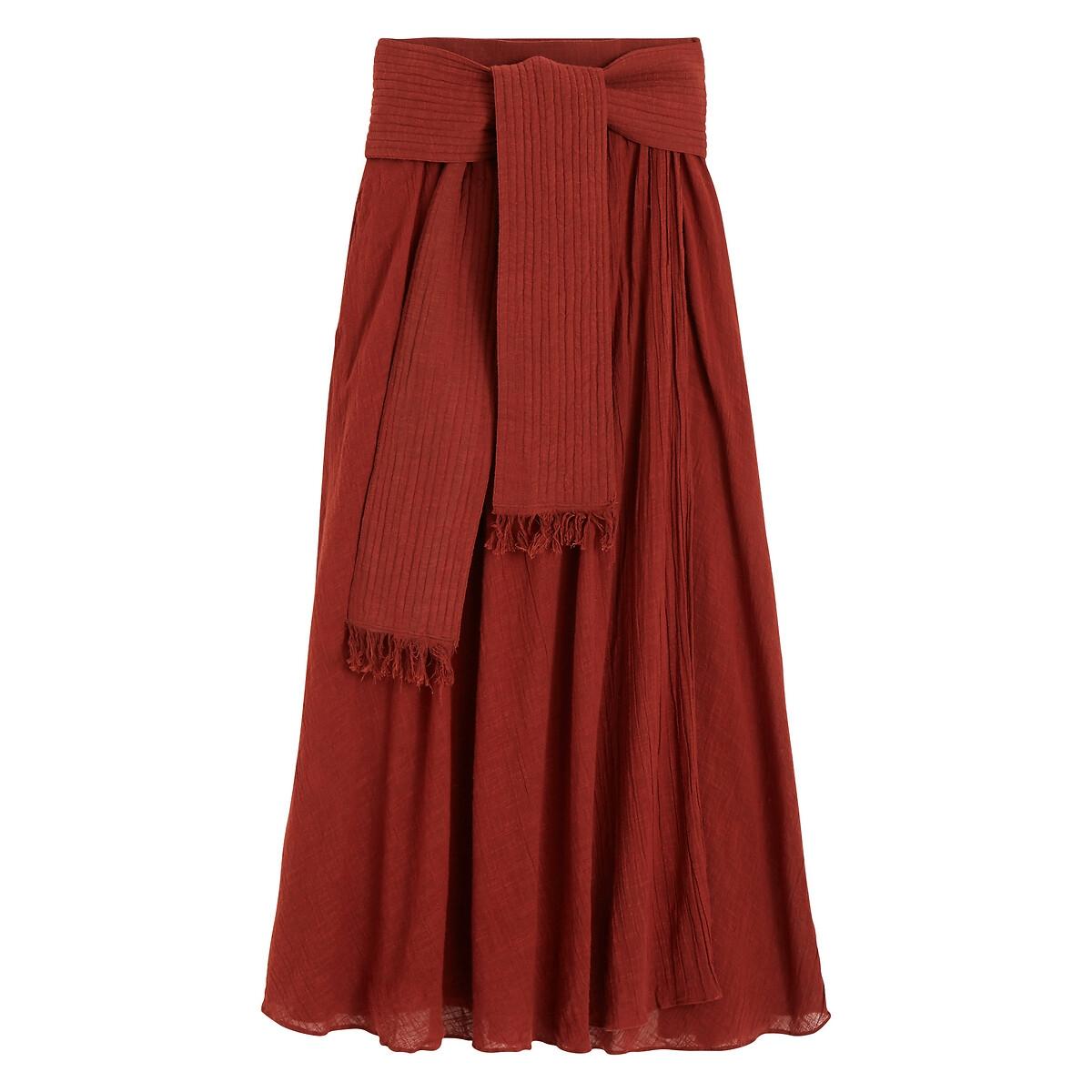Юбка La Redoute С запахом длинная XS оранжевый полуприлегающая юбка с запахом max mara полуприлегающая юбка с запахом