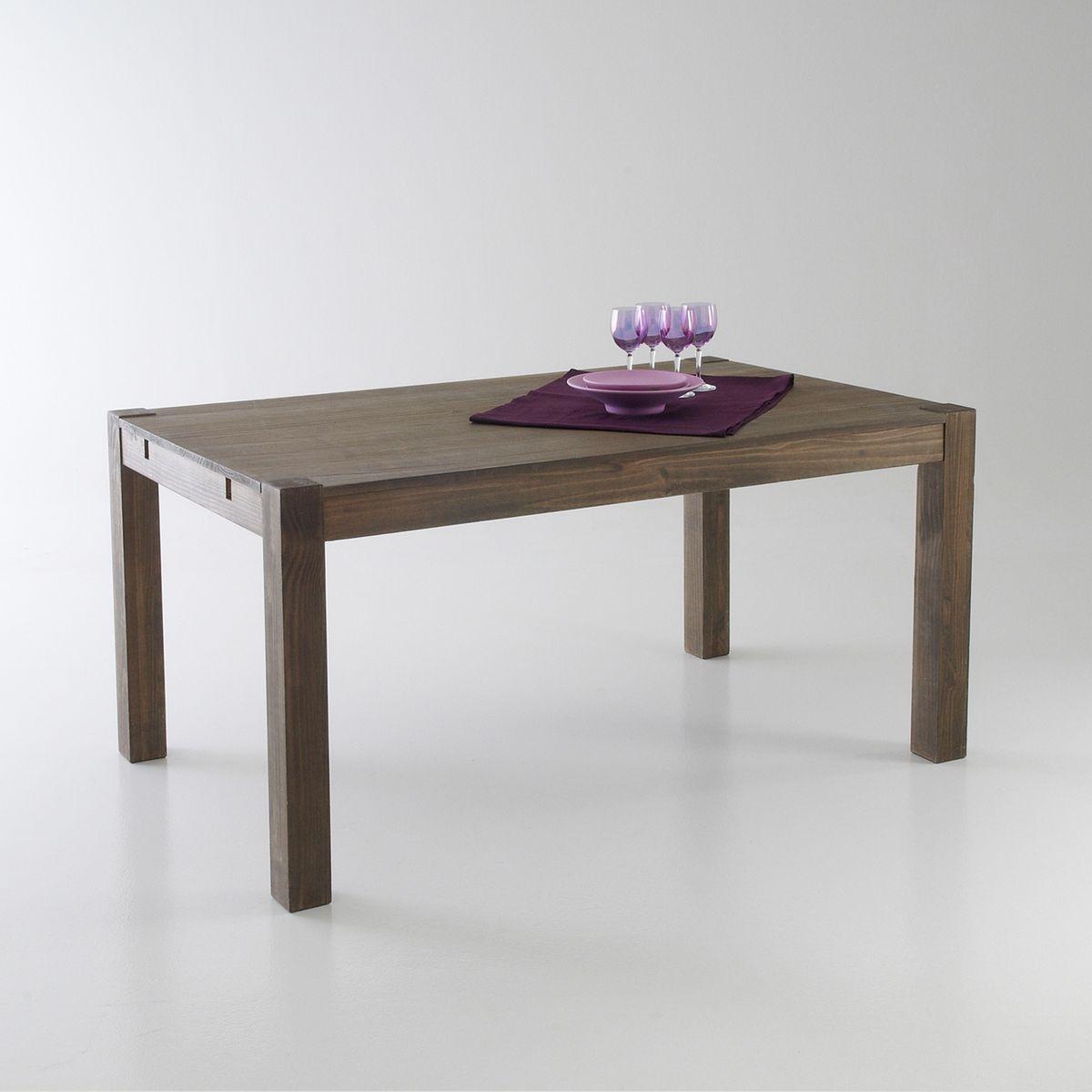 Table 2 allonges pin massif 6 à 10 couverts, Lunja de salle à manger en pin massif aux proportions parfaites, finition façon teck. Cette table originale est dotée d'un magnifique design : les pieds de section carrée se découpent sur le plateau.Descriptif