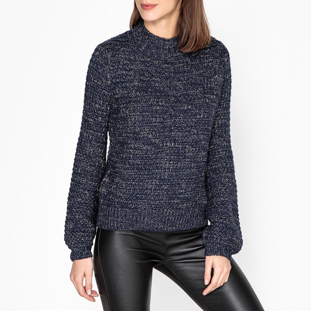 Пуловер с воротником-стойкой из плотного трикотажа
