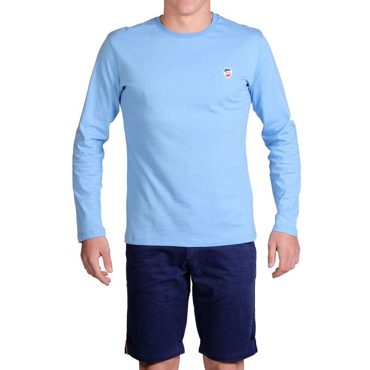 T-shirt manches longues bleu ciel écusson silicone