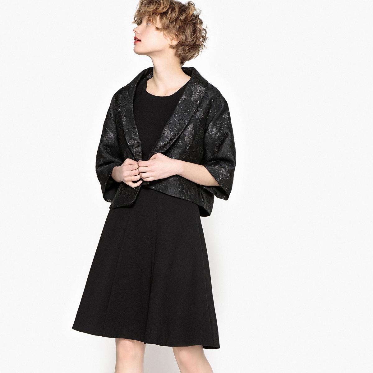 Жакет короткий в форме кимоно из жаккардовой ткани