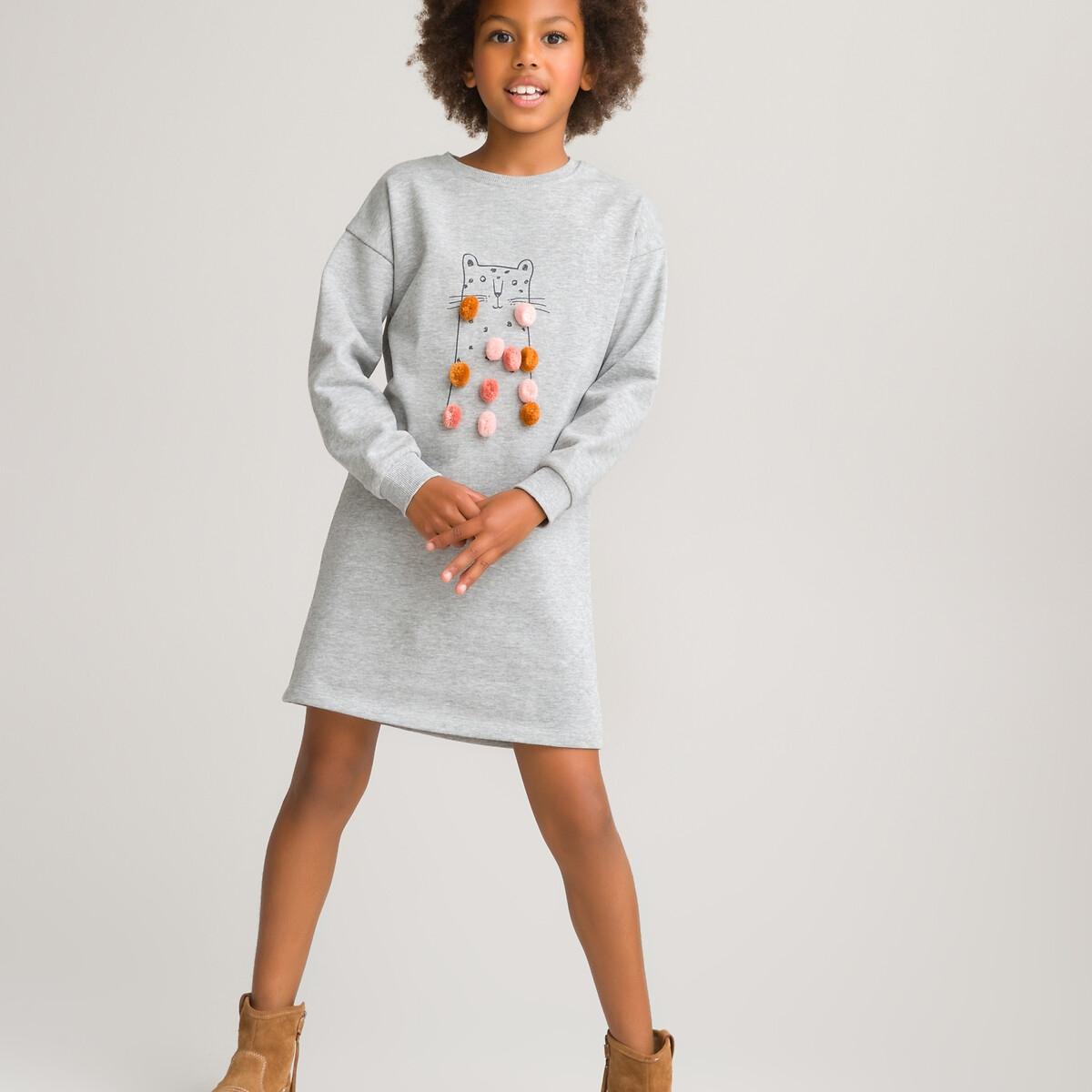 Платье LaRedoute Из мольтона с мелкими помпонами 3-12 лет 5 - 108 см серый