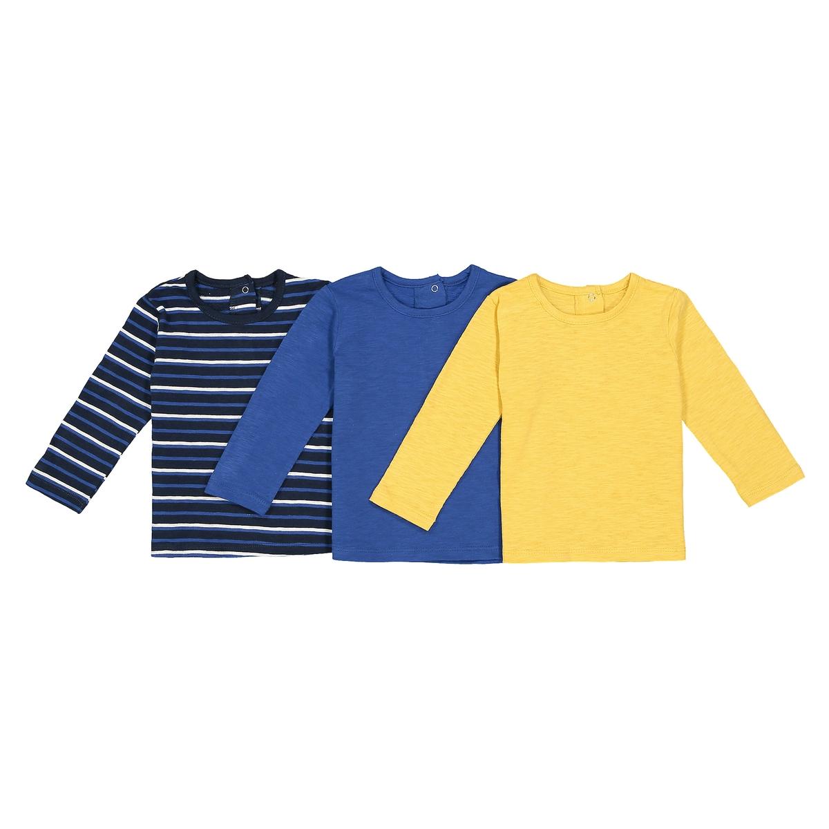 Комплект из 3 футболок с длинными рукавами - 1 мес. - 3 годаОписание:Детали •  Длинные рукава •  Круглый вырез •  Рисунок в полоску  Состав и уход •  100% хлопок •  Температура стирки 30° • Барабанная сушка на слабом режиме   •  Низкая температура глажки<br><br>Цвет: в полоску + желтый + синий<br>Размер: 3 года - 94 см.2 года - 86 см.18 мес. - 81 см.1 год - 74 см.9 мес. - 71 см.6 мес. - 67 см.3 мес. - 60 см.1 мес. - 54 см