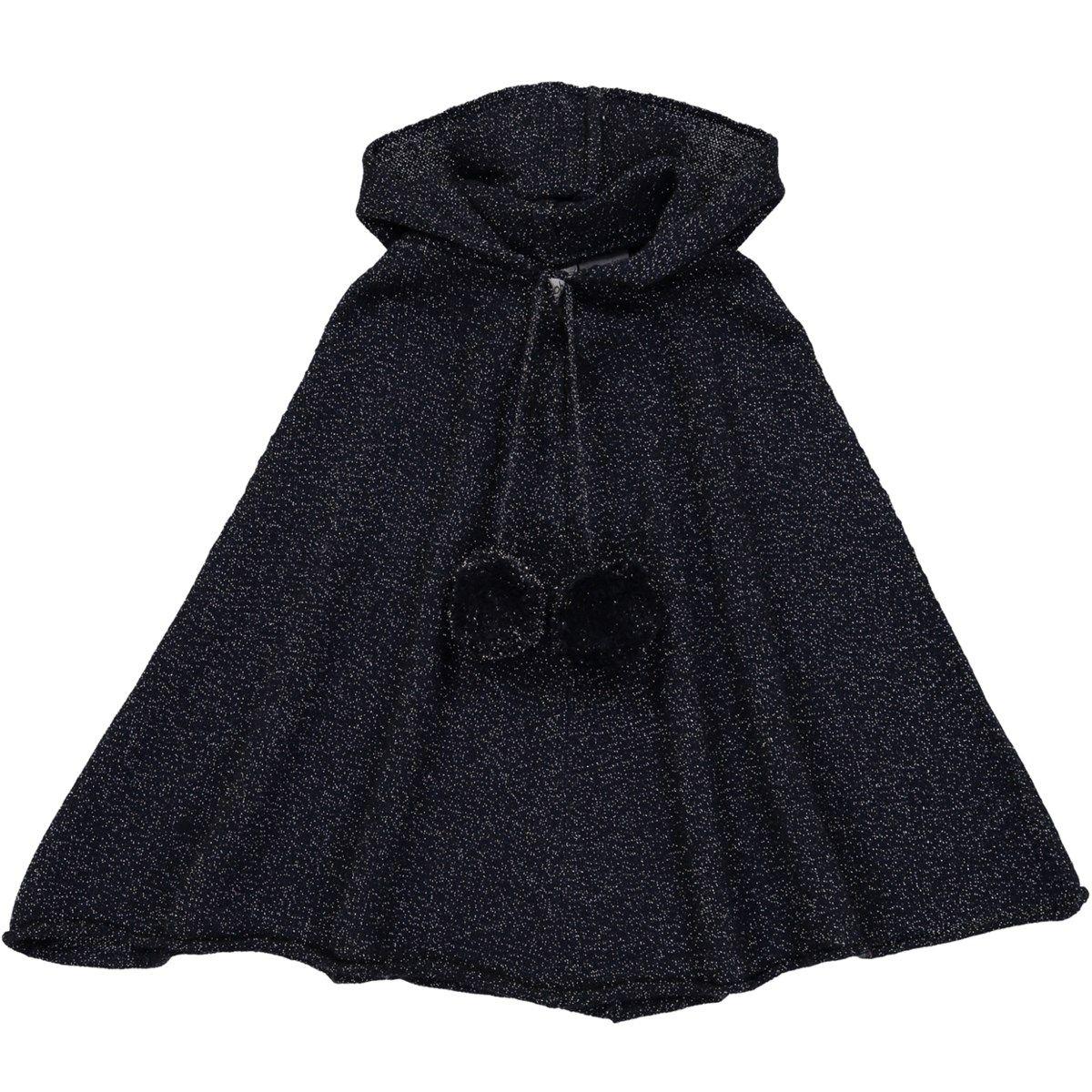 Poncho pailletés à capuche enfant en laine et cachemire
