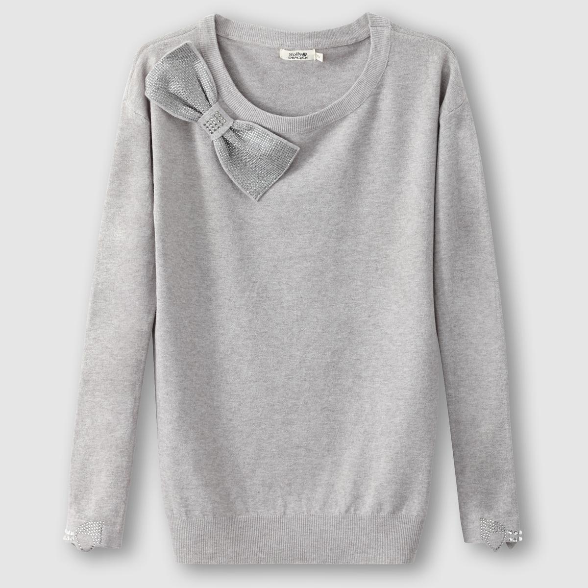 Пуловер с круглым вырезом и бантикомМатериал : 55% вискозы, 45% полиэстера   Длина рукава : длинные рукава   Форма воротника : круглый вырез   Покрой пуловера : стандартная   Рисунок : однотонная модель<br><br>Цвет: серый<br>Размер: 38/40 (FR) - 44/46 (RUS)