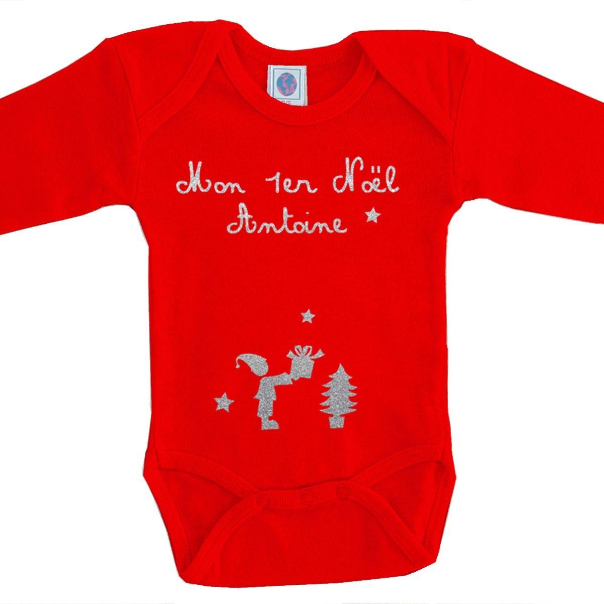 Body bébé Noël prénom coton manches longues rouge
