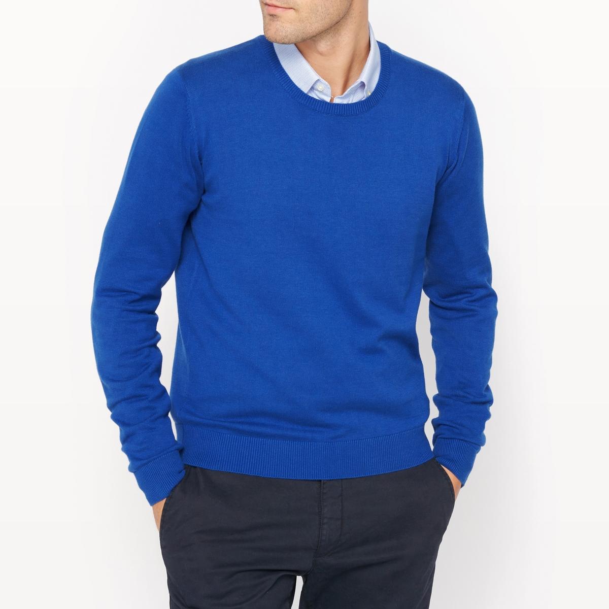 Пуловер с круглым вырезом 100% хлопкаПуловер с длинными рукавами. Прямой покрой, круглый вырез. Края низа и рукавов связаны в рубчик.Состав и описание :Материал : 100% хлопкаМарка : R essentiel.<br><br>Цвет: синий<br>Размер: L