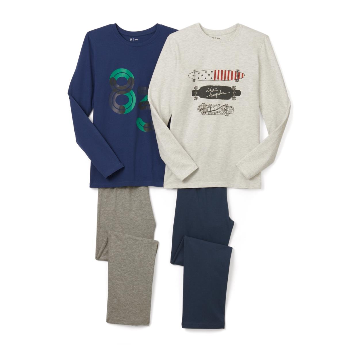 2 пижамы с принтом 10-16 летПижама: футболка с длинными рукавами и брюки. В комплекте 2 пижамы : Футболки с разными рисунками  . Брюки однотонные с эластичными поясами.Состав и описание :    Материал       Джерси 100% хлопок  (кроме цвета серый меланж: преимущественно из хлопка).  Уход: : - Машинная стирка при 30°C с вещами схожих цветов. Стирка и глажка с изнаночной стороны. Машинная сушка в умеренном режиме. Гладить на низкой температуре.<br><br>Цвет: синий/светло-серый меланж<br>Размер: 16 лет - 174 см.12 лет -150 см
