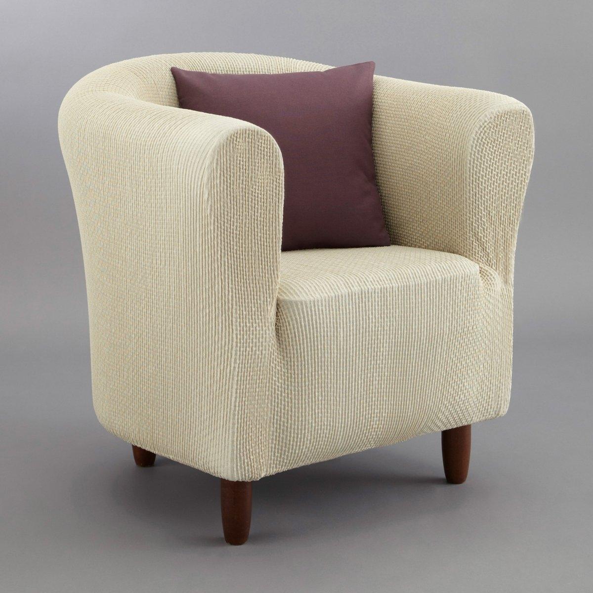 Чехол для креслаИз эластичной гофрированной ткани, 55% хлопка, 40% полиэстера, 5% эластана. Стирка при 30°. Эластичный низ.<br><br>Цвет: антрацит,бежевый,красный,серо-коричневый каштан,серый,черный,экрю<br>Размер: единый размер.единый размер.единый размер.единый размер.единый размер