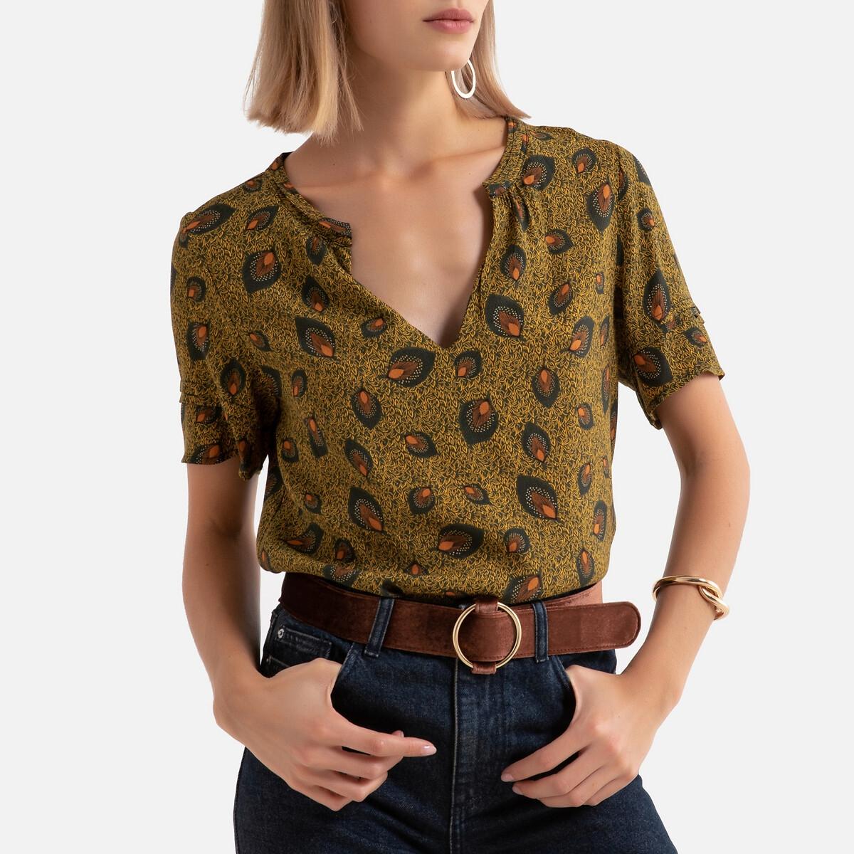 Фото - Блузка LaRedoute С короткими рукавами и рисунком 34 (FR) - 40 (RUS) желтый платье laredoute с запахом с рисунком 34 fr 40 rus синий