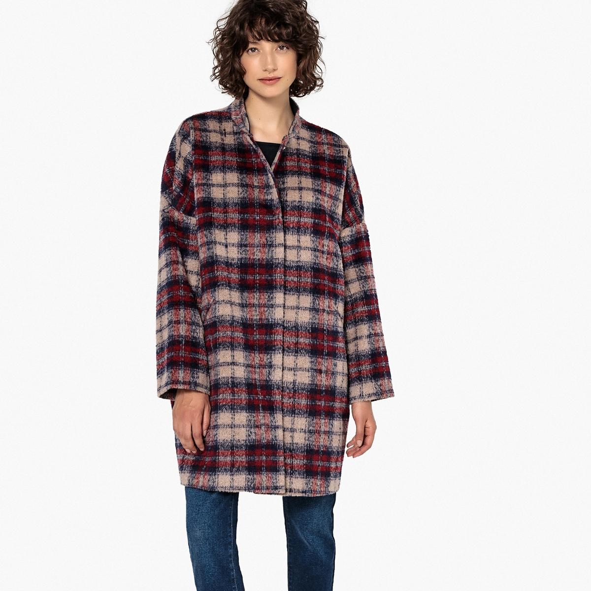 Abrigo con corte amplio de lana mezclada