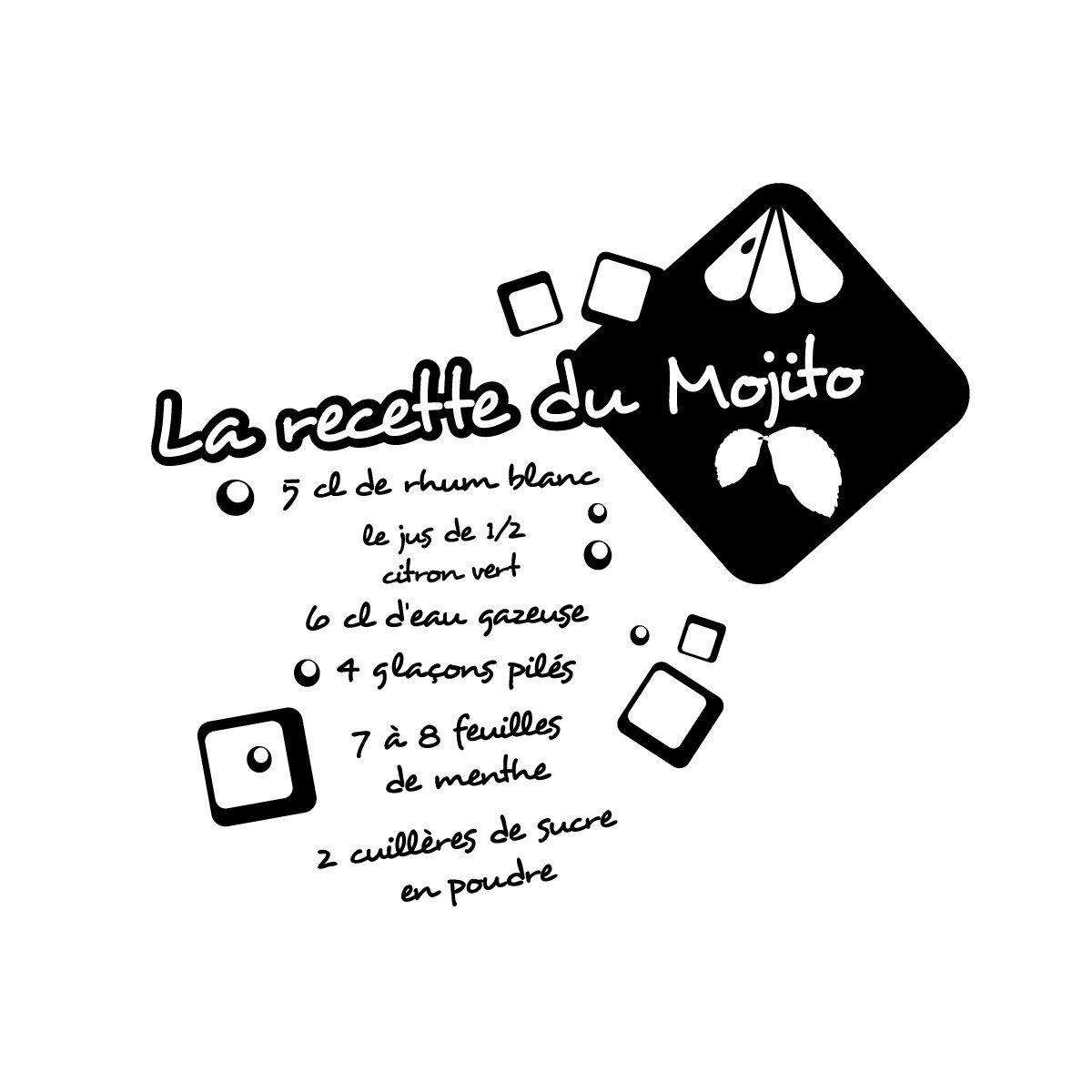 Sticker cuisine recette du mojito - noir -...