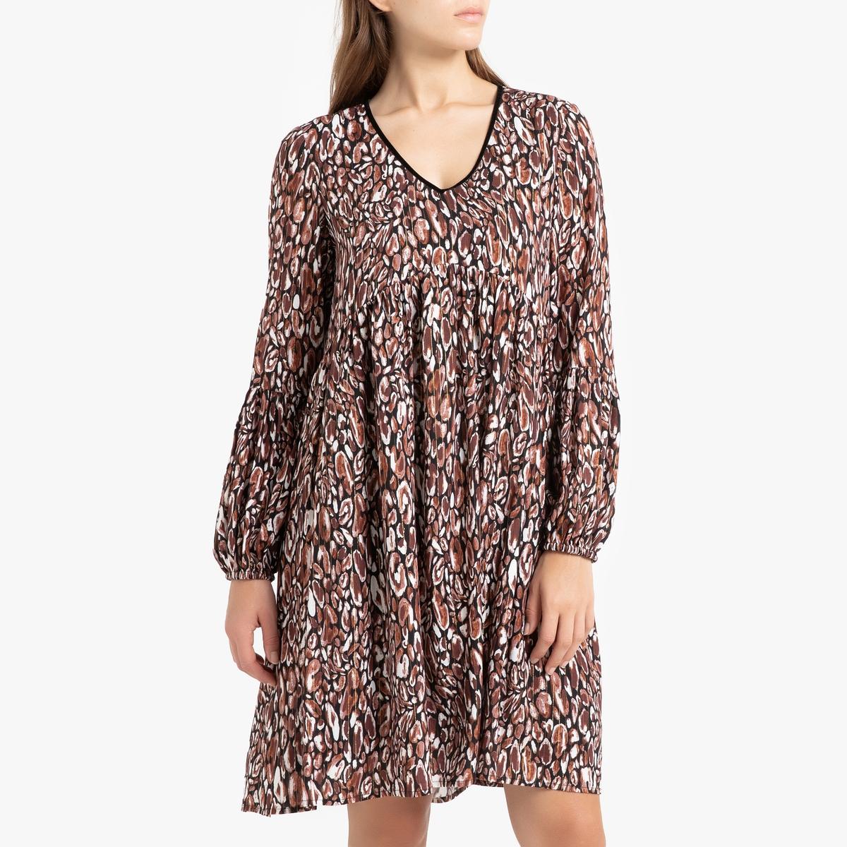 Платье La Redoute С принтом короткое с длинными рукавами PENSEE 36 (FR) - 42 (RUS) черный платье la redoute короткое с запахом с длинными рукавами 42 fr 48 rus черный